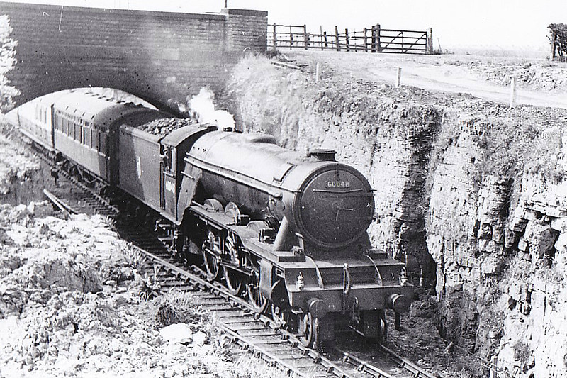 60048 DONCASTER - Gresley LNER Class A3 4-6-2 - built 08/24 by Doncaster Works as LNER No.2547 - 05/46 to LNER No.48, 11/48 to BR No.60048 - 09/63 withdrawn from 34F Grantham - seen here at Kirkby in Ashfield, 05/52.
