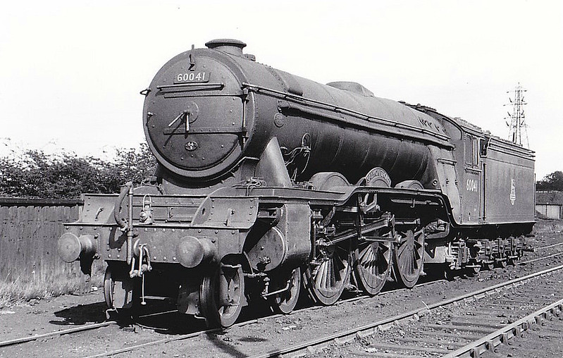 60041 SALMON TROUT - Gresley LNER Class A3 4-6-2 - built 12/34 by Doncaster Works as LNER No.2506 - 07/46 to LNER No.41, 11/48 to BR No.60041 - 12/65 withdrawn from 64A St Margarets - seen here at Carlisle Canal, 08/56.