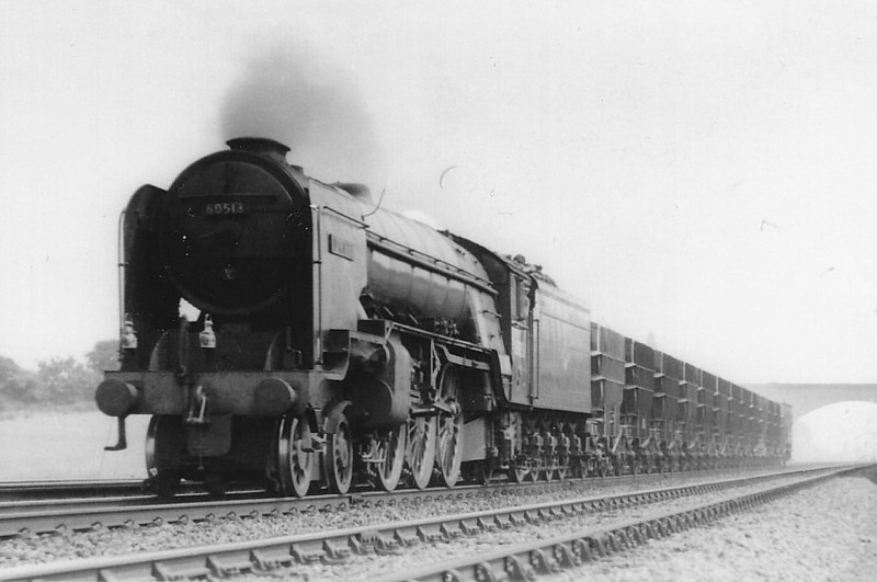 60518 TEHRAN - Thompson LNER/BR Class A2 4-6-2 - built 12/46 by Doncaster Works as LNER No.518 - 07/48 to BR No.60518 - 11/62 withdrawn from 50A York North - seen here near Knebworth in 1961.