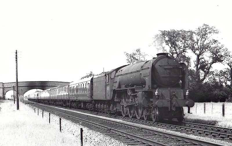60155 BORDERER - Peppercorn Class A1 4-6-2 - built 09/49 by Doncaster Works - 10/65 withdrawn from 50A York North - seen here at Gosberton on a diverted ECML express, 07/57.