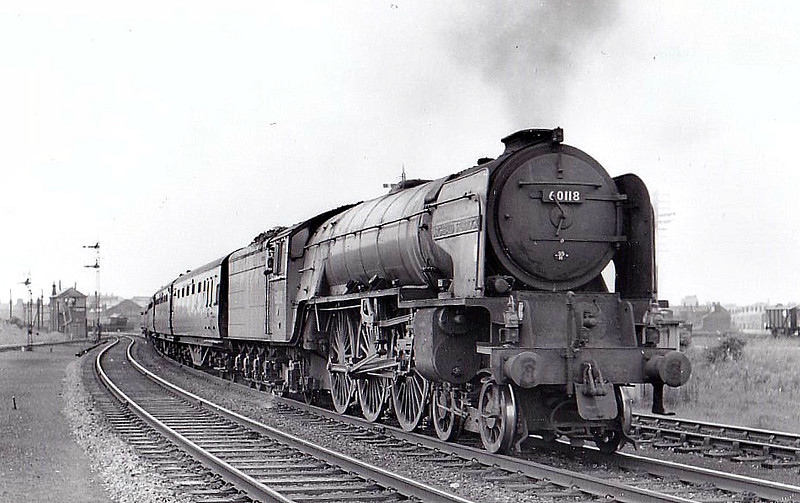 60118 ARCHIBALD STURROCK - Peppercorn Class A1 4-6-2 - built 11/48 by Doncaster Works - 10/65 withdrawn from 55C Leeds Neville Hill - seen here at Petteril Bridge Junction, Carlisle, 06/63.