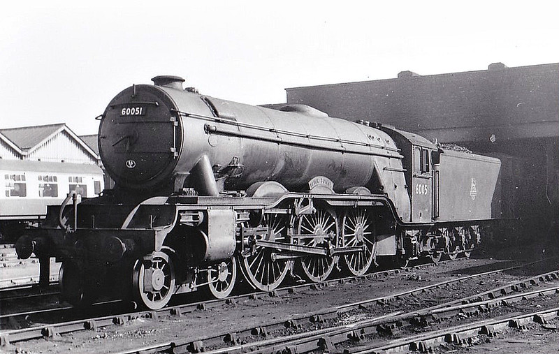 60051 BLINK BONNY - Gresley LNER Class A3 4-6-2 - built 11/24 by Doncaster Works as LNER No.2550 - 08/46 to LNER No.51, 09/48 to BR No.60051 - 11/64 withdrawn from 52A Gateshead - seen here at Leeds Copley Hill, 04/57.