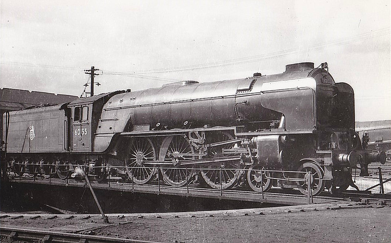 60155 BORDERER - Peppercorn BR Class A1 4-6-2 - built 09/49 .by Doncaster Works - 10/65 withdrawn from 50A York North - seen here at Haymarket in blue livery before name plates were fitted.