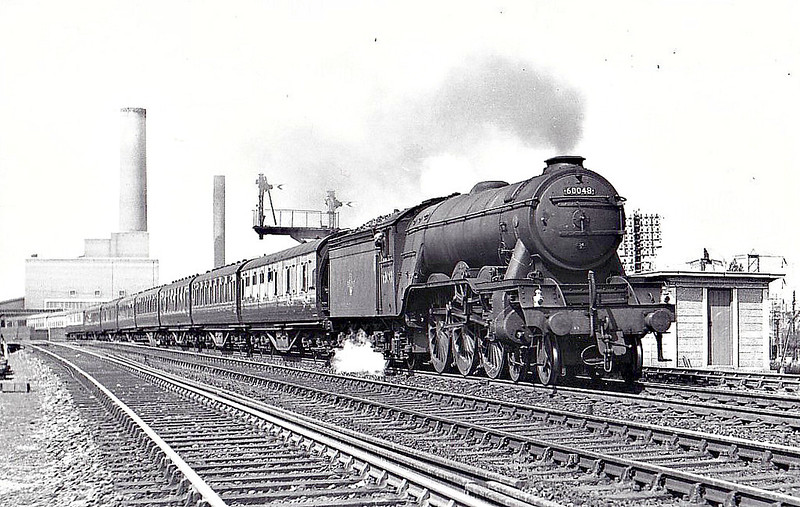 60048 DONCASTER - Gresley LNER Class A3 4-6-2 - built 08/24 by Doncaster Works as LNER No.2547 - 05/46 to LNER No.48, 11/48 to BR No.60048 - 09/63 withdrawn from 34F Grantham - seen here sat Fletton Junction, 07/59.