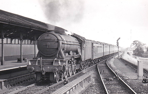 60084 TRIGO - Gresley LNER Class A3 4-6-2 - built 02/30 by Doncaster Works as LNER No.2595 - 10/46 to LNER No.84, 05/48 to BR No.60084 - 11/64 withdrawn from 52A Gateshead - seen here at Northallerton on the down 'Queen of Scots' in August 1953.