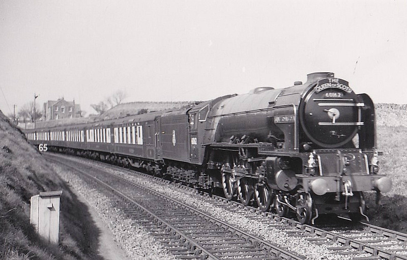 60162 SAINT JOHNSTOUN - Peppercorn Class A1 4-6-2 - built 12/49 by Doncaster Works - 10/63 withdrawn from 64A St Margarets - seen here at Burnmouth on the Up 'Queen of Scots', 04/52.