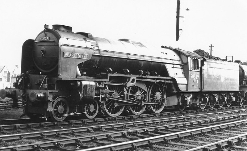 60529 PEARL DIVER - Peppercorn LNER Class A2 4-6-2 - built 02/48 by Doncaster Works as BR No.E529 - 09/49 to BR No.60529 - 12/62 withdrawn from 64A St Margarets.