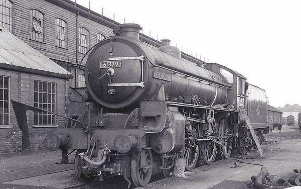 61379 MAYFLOWER - Thompson LNER/BR Class B1 4-6-0 - built 06/51 by North British Loco. Works - 08/62 withdrawn from 40B Immingham - seen here at Doncaster Works, 03/59.