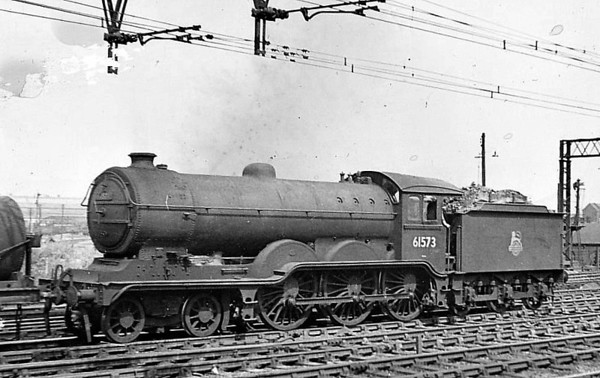 61573 - Holden/Gresley GER/LNER Class B12 4-6-0 - built 01/24 by Beyer Peacock Ltd. as LNER No.8573 - 05/46 to LNER No.1573, 08/48 to BR No.61573 - 01/59 withdrawn from 31A Cambridge.
