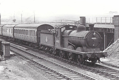 64433 - Robinson GCR Class 9J LNER Class J11 0-6-0 - built 01/08 by Gorton Works as GCR No.319 - 03/26 to LNER No.5319, 06/46 to LNER No.4433, 08/48 to BR No.64433 - 02/60 withdrawn from 38D Staveley - seen here at Kirkby in Ashfield, 05/53.