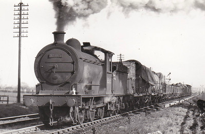 65865 - Worsdell NER Class P3 LNER Class J27 0-6-0 - built 12/21 by Darlington Works as NER No.2343 - 01/47 to LNER No.5865, 09/48 to BR No.65865 - 02/67 withdrawn from 52F Blyth North - seen here at Stockton on a Down goods, 04/51.