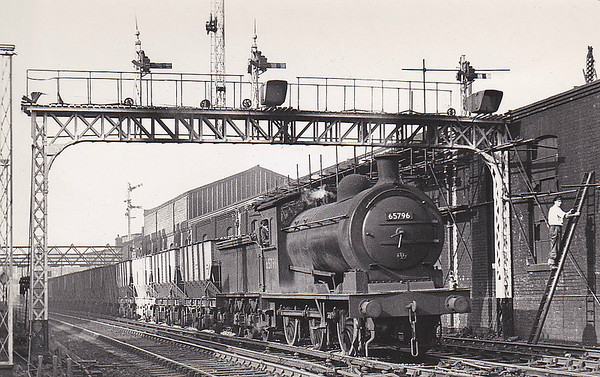 65796 - Worsdell NER Class P3 LNER Class J27 0-6-0 - built 11/06 by Darlington Works as NER No.1256 - 04.46 to LNER No.5796, 04/51 to BR No.65796 - 05/66 withdrawn from 52F Blyth North - seen here at Seaton, 09/53.