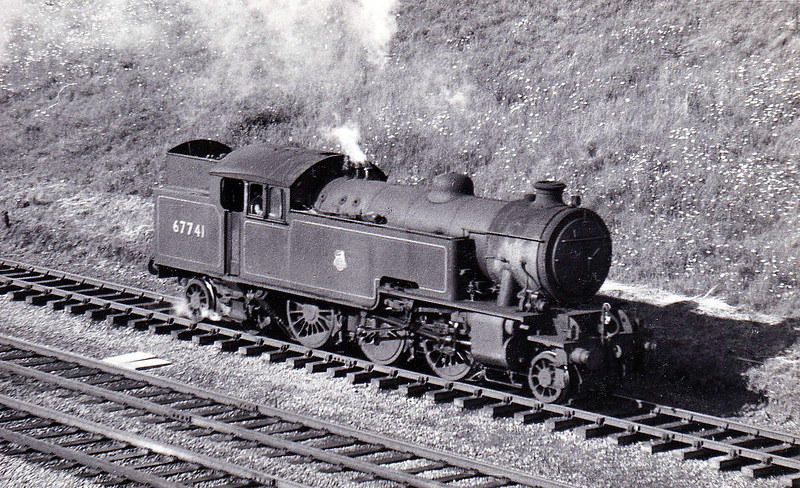 67741 - Thompson LNER/BR Class L1 2-6-4T - built 11/48 by North British Loco Co., Works No.26580 - 12/62 withdrawn from 40E Colwick - seen here at Abbots Ripton on the Up Slow in July 1953.