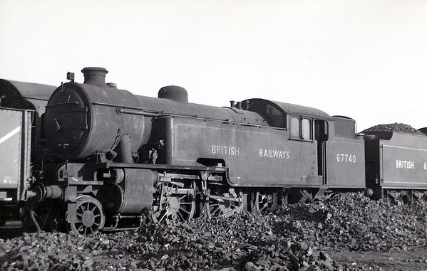 67740 - Thompson LNER/BR Class L1 2-6-4T - built 11/48 by North British Loco Co., Works No.26579 - 07/61 withdrawn from 2F Woodford Halse. Note missing coupling rods - in Works, perhaps?
