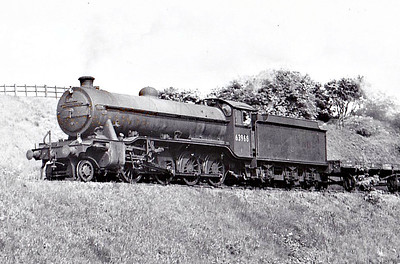 63968 - Gresley LNER Class O2/3 2-8-0 - built 09/42 by Doncaster Works as LNER No.3838 - 09/46 to LNER No.3968. 07/48 to BR No.63968 - 09/63 withdrawn from 36A Doncaster - seen here at Kirkby in Ashfield, 05/52.