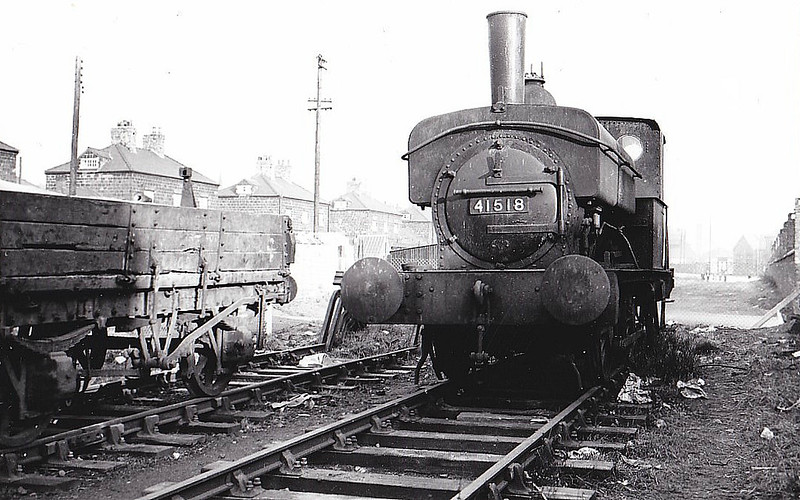 41518 - Johnson MR 1134 Class 0F 0-4-0ST - built 07/1897 by Derby works as MR No.1134 - 1907 to MR No.1518, 03/49 to BR No.41518 - 02/58 withdrawn from 24D Lower Darwen - seen here at Hasland, 1957.