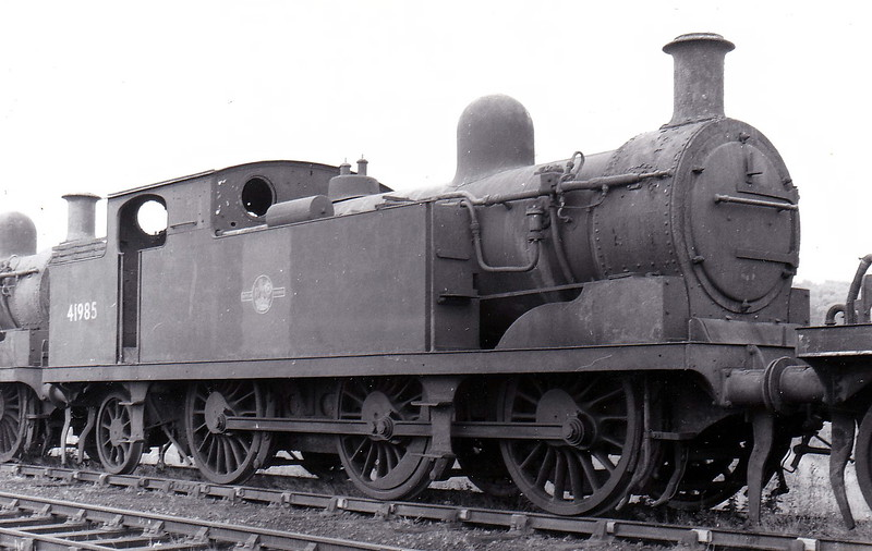 41985 -  Whitelegg LTSR Class 69 0-6-2T - built 07/03 by North British Loco Co. as LTSR No.74 ORSETT - 1912 to MR No.2185, 1923 to LMS No.2225, 1939 to LMS No.2185, 1947 to LMS No.1985, 04/48 to BR No.41985 - 02/59 withdrawn from 33B  Tilbury - seen here on the scrapline in July 1959.