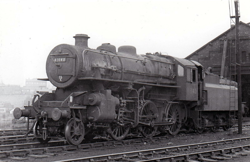 43140 - Ivatt LMS/BR Class 4MT 2-6-0 - built 08/51 by Doncaster Works - 06/67 withdrawn from 55E Normanton, where seen in April 1967.