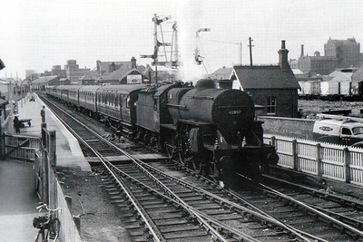 42837 - Hughes LMS Class 5F Crab 2-6-0 - built 07/30 by Horwich Works as LMS No.13137 - 04/34 to LMS No.2837, 05/48 to BR No.42837 - 12/62 withdrawn from 12A Edge Carlisle Kingmoor - seen here at Grimsby Docks, no doubt bound for Cleethorpes.