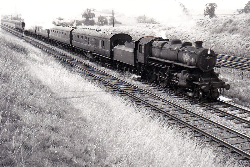 43039 - Ivatt LMS/BR Class 4MT 2-6-0 - built 07/49 by Horwich Works - 12/66 withdrawn from 55A Holbeck - seen here at Glendon South Junction on a Kettering - Nottoingham local in June 1962.