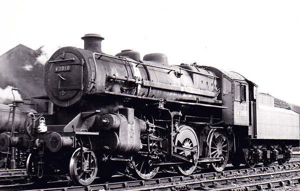 43010 - Ivatt LMS Class 4MT 2-6-0 - built 03/48 by Horwich Works as LMS No.3010 - 03/51 to BR No.43010 - 12/67 withdrawn from 12D Workington - seen here at Wellingborough in June 1960.