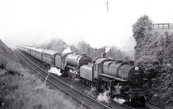 43096 - Ivatt LMS/BR Class 4MT 2-6-0 - built 12/50 by Darlington Works - 03/67 withdrawn from 55F Manningham - seen here at Enthorpe piloting Class V2 No.60802 on a Newcastle - Bridlington special.