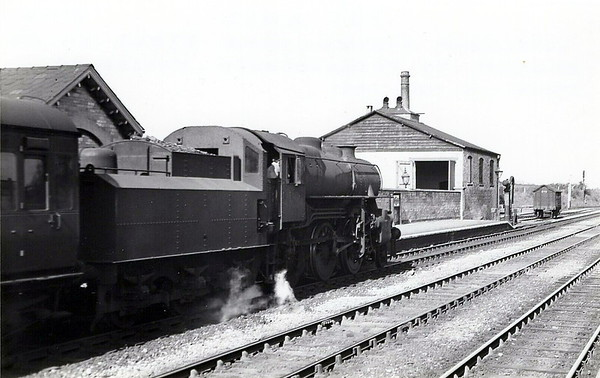 43064 -  Ivatt LMS Class 4MT 2-6-0 - built 11/50 by Doncaster Works - 06/65 withdrawn from 41J Langwith Junction - seen here at Luffenham Junction on a Peterborough - Oakham train, 05/51.