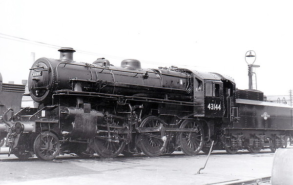 43144 - Ivatt LMS/BR Class 4MT 2-6-0 - built 09/51 by Doncaster Works - 04/65 withdrawn from 41E Staveley - seen here ex-Works at Doncaster in 1961 - 31D South Lynn engine from new until closure of M&GN.