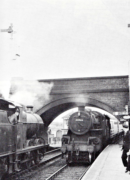 43066 -  BR Ivatt Class 4MT 2-6-0 - built 12/50 by Darlington Works - 01/67 withdrawn from 10A Carnforth - seen here at Saxby Junction on the 4pm Spalding - Nottingham, passing 44414 in the opposite platform, 1958.