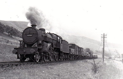 42746 -  Hughes LMS Class 5F Crab 2-6-0 - built 04/27 by Crewe Works as LMS No.13046 - 12/35 to LMS No.2746, 10/48 to BR No.42746 - 11/63 withdrawn from 67B Hurlford - seen here at Sanquhar in September 1961.