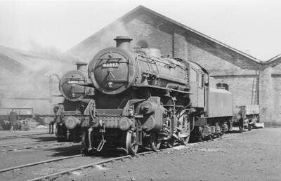 43097 - Ivatt LMS Class 4MT 2-6-0 - built 01/51 by Darlington Works - 01/67 withdrawn from 52F North Blyth - seen here on shed at Selby, where it was based at the time, with classmate 43054, also a Selby loco, on May 9th, 1959.
