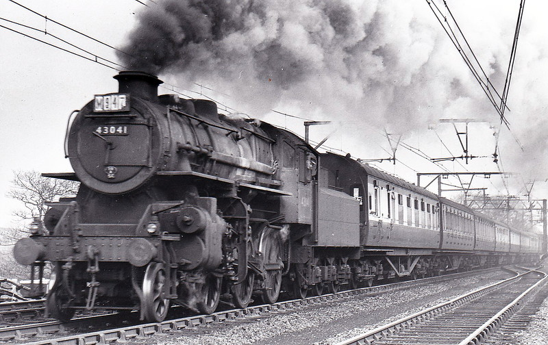 43041 - Ivatt LMS Class 4MT 2-6-0 - built 08/49 by Horwich Works - 08/67 withdrawn from 10D Lostock Hall - seen here on what looks like a seaside special in April 1953.
