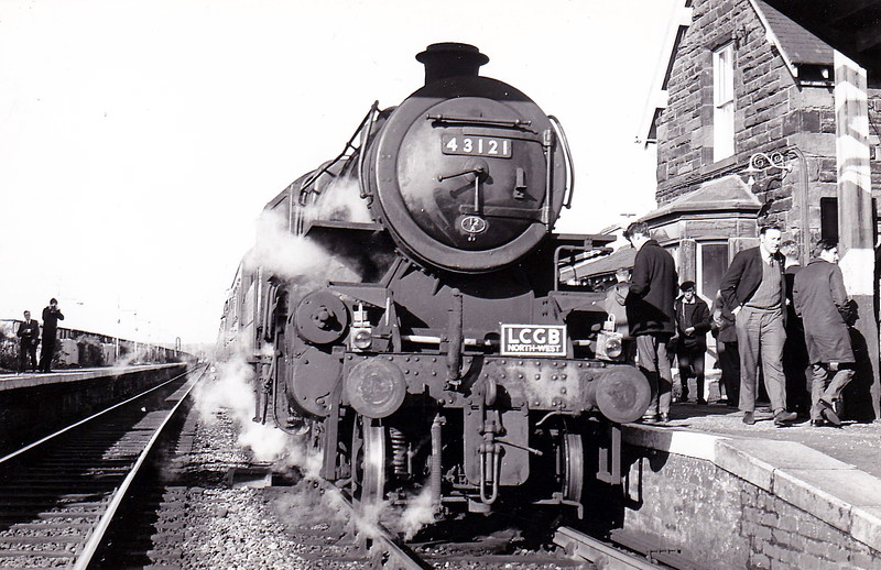 43121 - Ivatt LMS?BR Class 4MT 2-6-0 - built 08/51 by Horwich Works - 11/67 withdrawn from 12A Carlisle Kingmoor - seen here at Longtown on the LCGB 'Carlisle to Carlisle' Rail Tour on October 14th, 1967.