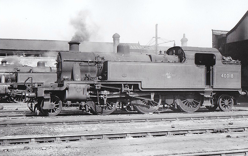 40018 - Fowler LMS Class 3P 2-6-2T - built 12/30 by Derby Works as LMS No.15018 - 1934 to LMS No.18, 11/48 to BR No.40018 - 07/61 withdrawn from 9E Trafford Park, where seen 08/58.