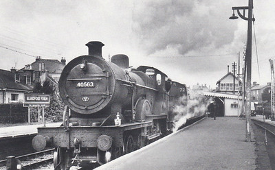 40563 - Fowler LMS Class 2P 4-4-0 - built 03/28 by Derby Works as LMS No.563 - 08/49 to BR No.40563 - 05/62 withdrawn from 71H Templecombe - seen here at Blandford Forum with a train for Bournemouth West, 04/62.