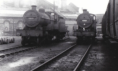 41045 - Fowler LMS Compound Class 4-4-0 - built 02/24 by Derby Works as LMS No.1045 - 04/49 to BR No.41045 - 06/57 withdrawn from 23C Lancaster Green Ayre - seen here with Class 2P No.40323.