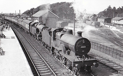 40654 - Fowler LMS Class 2P 4-4-0 - built 10/31 by Crewe Works as LMS No.654 - 06/49 to BR No.40654 - 12/59 withdrawn from 11B Barrow - seen here at Ravenglass, 07/55.