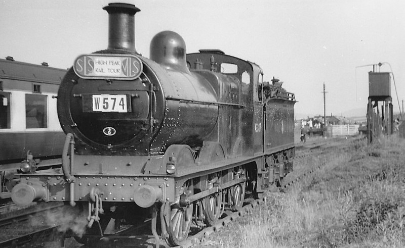 43387 - Johnson MR Class 3F 0-6-0 - built 10/1892 by Sharp Stewart as MR No.2110 - 1907 to MR No.3387, 04/48 to BR No.43387 - 12/59 withdrawn from 8B Warrington Dallam - seen here at Ladmanlow on the SLS High Peak Railtour, 06/53.