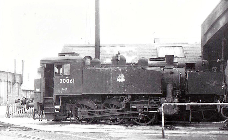 30061 - USA Class 0-6-0T - built 1942 by HK Porter as WD No.1264 - 1942 to SR No.61, 05/51 to BR No.30061 - 10/62 withdrawn from 70I Southampton Docks, where seen 07/61.