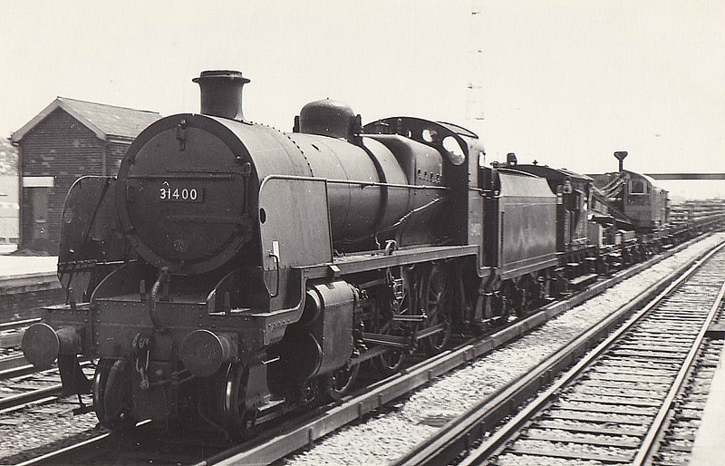 31400 - Maunsell SR Class N 2-6-0 - built 07/32 by Ashford Works as SR No.1400 - 07/48 to BR No.31400 - 06/64 withdrawn from 75B Redhill - seen here at Ashford, 06/62.