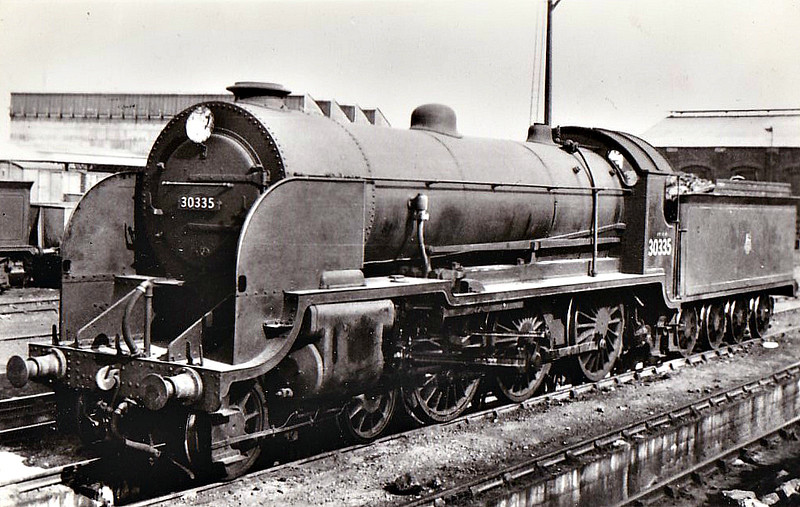 30335 - Urie LSWR Class H15 4-6-0 - built 1907 by Eastleigh Works as LSWR No.335 - 12/48 to BR No.30335 - 06/59 withdrawn from 72B Salisbury.