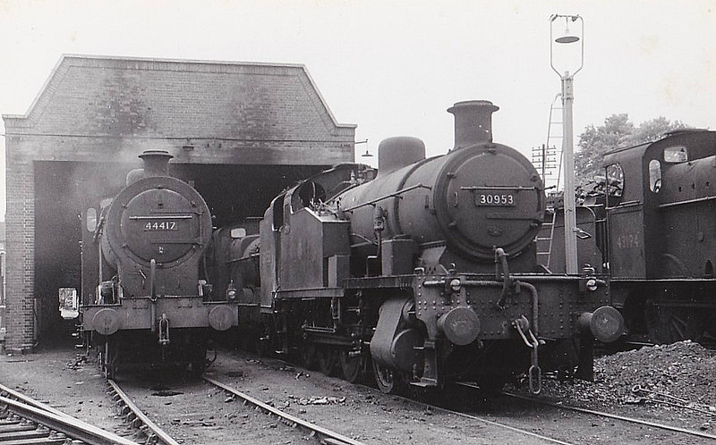 30953 - Maunsell SR Class Z 0-8-0T - built 06/29 by Brighton Works as SR No.953 - 02/50 to BR No.30953 - 02/60 withdrawn from 70A Nine Elms - seen here somewhere deep into Midland territory surrounded by a bevy of 3 & 4F's.