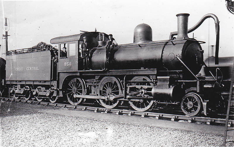 956 - GCR Class 15 2-6-0 - built 1900 by Baldwin Locomotive Co. and assembled at Gorton Works - 1910 to GCR No.956B - 1913 withdrawn - the GCR bought 20 locos of this type, also bought by the GNR and MR, at a time when engines were required quickly and British builders had full order books. None were very long lived.