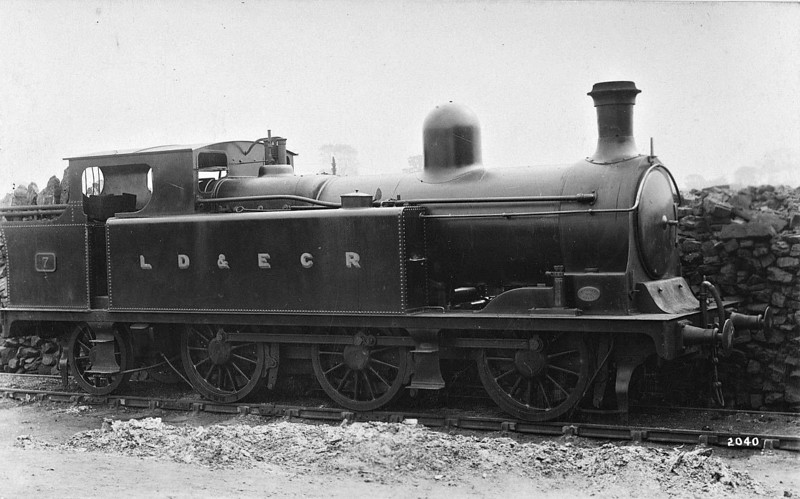 LANCASHIRE, DERBYSHIRE & EAST COAST RAILWAY - 7 - Kitson LD&ECR 0-6-2T - built 1895 by Kitson & Co. as LD&ECR No.24 - 1908 to GCR Class A No.1157,  03/25 to LNER Class N6 No.6157 - 08/35 withdrawn.<br /> <br /> The Lancashire, Derbyshire & East Coast Railway was a railway with a big name and big ambitions and not much track mileage! It never got anywhere near to Lancashire or the East Coast! Opened in 1897, its mainline ran from Chesterfield Market Place Station to a junction with the GNR at Pyewipe Junction just west of Lincoln with a branch to Sheffield from Langwith Junction built in 1900. Centre of operations was at Tuxford, where there was a junction with the Great Northern mainline. The locomotive, carriage and wagon works were here. Despite heavy coal traffic, the line was impoverished and was taken over by the Great Central Railway in 1907. The company owned 37 locomotives, all built by Kitson of Leeds, 18 Class A 0-6-2T, 4 Class B 0-6-0T shunting engines, 6 Class C 0-4-4T for passenger work and 9 Class D 0-6-4T, all of which passed to the GCR and then the LNER.