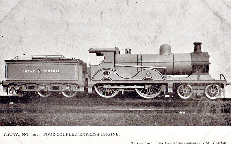 1017 - Robinson GCR Class 11B LNER Class D9 4-4-0 - built 10/01 by Sharp Stewart & Co. - 02/24 to LNER No.6017, 07/46 to LNER No.2304, 02/49 to BR No.62304 - 01/50 withdrawn from 13E Brunswick.