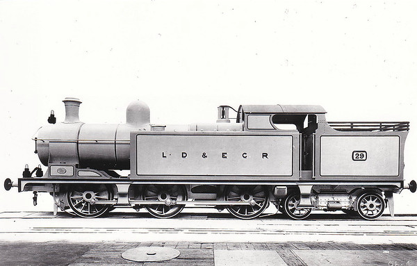 LANCASHIRE, DERBYSHIRE & EAST COAST RAILWAY - 29 - Kitson LD&ECR Class D 0-6-4T - built 1904 by Kitson & Co., Works No.4246 - 1908 to GCR No.1148,  02/25 to LNER Class N6 No.6148, 1946 to LNER No.9050 (not applied) - 03/46 withdrawn.  The Lancashire, Derbyshire & East Coast Railway was a railway with a big name and big ambitions and not much track mileage! It never got anywhere near to Lancashire or the East Coast! Opened in 1897, its mainline ran from Chesterfield Market Place Station to a junction with the GNR at Pyewipe Junction just west of Lincoln with a branch to Sheffield from Langwith Junction built in 1900. Centre of operations was at Tuxford, where there was a junction with the Great Northern mainline. The locomotive, carriage and wagon works were here. Despite heavy coal traffic, the line was impoverished and was taken over by the Great Central Railway in 1907. The company owned 37 locomotives, all built by Kitson of Leeds, 18 Class A 0-6-2T, 4 Class B 0-6-0T shunting engines, 6 Class C 0-4-4T for passenger work and 9 Class D 0-6-4T, all of which passed to the GCR and then the LNER.