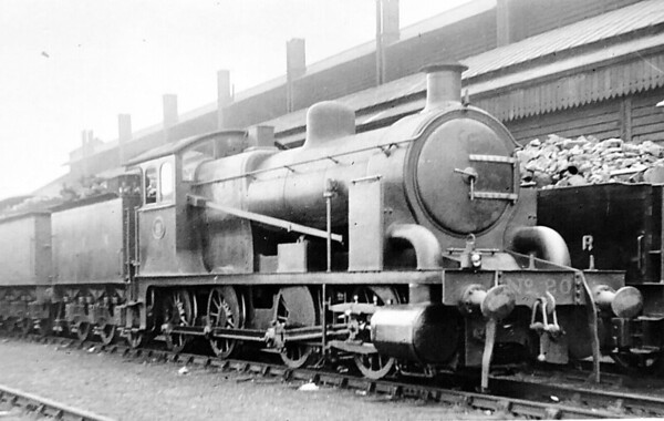 20 - Holden Decapod 0-10-0T - built 1903 by Stratford Works as an experimental engine for test against new electric trains - 1906 rebuilt as 0-8-0 tender engine - 1913 withdrawn and scrapped - seen here as rebuilt at March in April 1913.