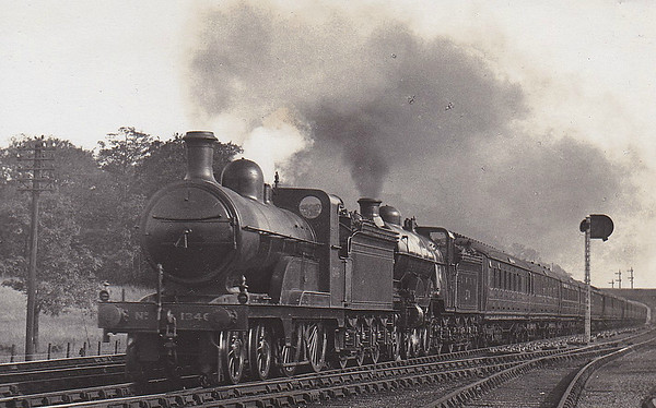 1346 - Ivatt GNR Class D2 LNER Class D4 4-4-0 - built 12/1898 by Doncaster Works - 12/17 rebuilt to Class D3 - 01/25 to LNER No.4346, 09/46 to LNER No.2138 - 08/47 withdrawn from Immingham Depot - seen here piloting Class C1 Atlantic No.274, which carries LNER on the tender.