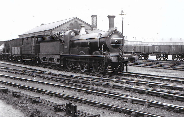 188 - Stirling GNR 374 Series LNER Class J10 0-6-0 - built 09/1887 by Doncaster Works, Works No.448 - 09/14 fitted with domed boiler - 1925 to LNER No.3188 - 10/27 withdrawn from Colwick MPD - seen here at Basford in July 1912.