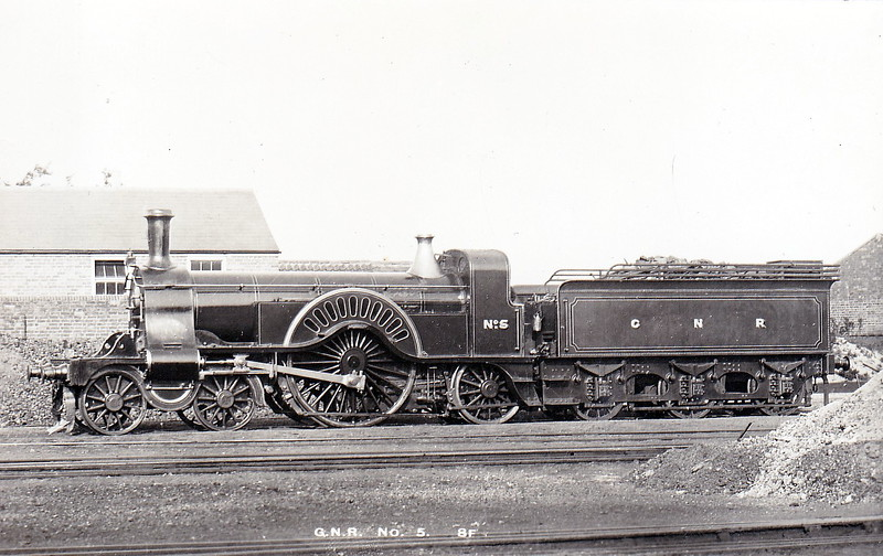 5 - Stirling GNR 4-2-2 - built 08/1873 by Doncaster Works, Works No.105 - 09/1886 reboilered - 01/04 withdrawn from Grantham MPD.